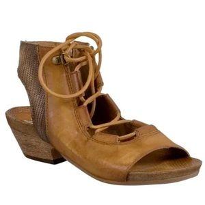 Miz Mooz brown leather Cato peep toe sandal heel 9